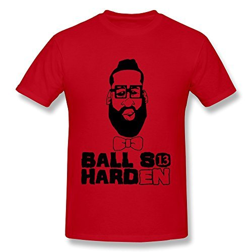 AHOO Mens Tee Big Beard James Harden 13 Houston Rockets Red Size XL