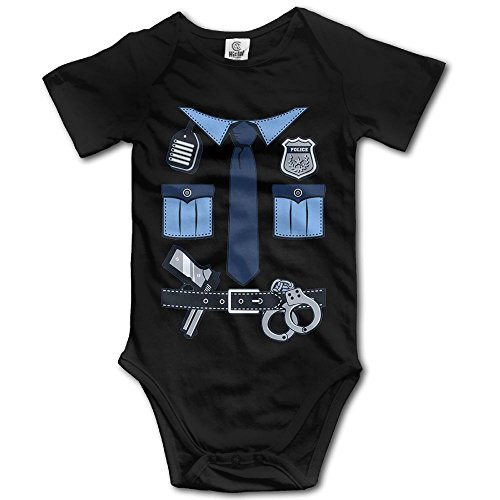 LiamP Baby Onesie Girl Boy Outfit Baby Bodysuit Jumpsuit Creeper Short Sleeve Police Uniform Gear Black]()