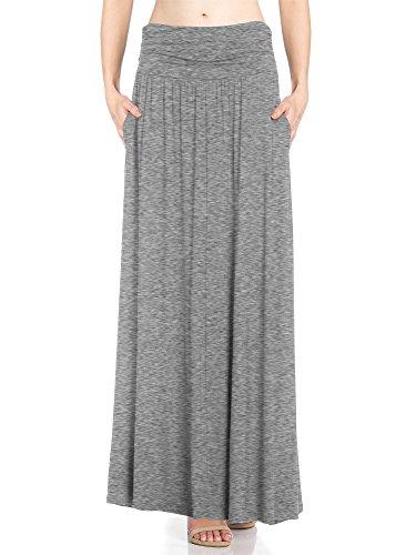 Fashion California FACA Womens High Waist Shirring Maxi Skirt With Side Pockets (XXXXX-Large, Heather Grey)