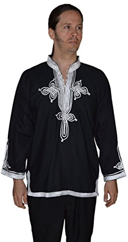 Marrakesh Men Tunic Caftan With White Tread Embroidery Breathable X-large Black by Moroccan Men Clothing