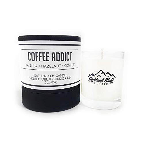 Coffee Addict - 3oz Soy Candle - Vanilla, Hazelnut, and Chocolate - Signature Series Mini