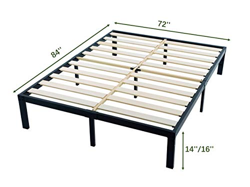 ZIYOO 3500lbs Heavy Duty, 14 Inch Wooden Slat, Reinforced Platform Bed Frame Strengthen Support Mattress Foundation, Easy Assembly, Quiet Noise Free,No Box Spring Needed,Integrated Structure, Cal King