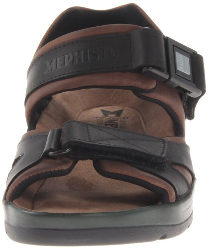 Mephisto Mens Shark Fit Leather Sandals Dark Brown/Black Waxy