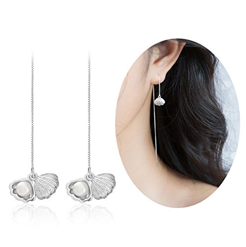 Aifeer 925 Sterling Silver Long Threader Drop Earrings Dangle with Freshwater Cultured Pearl Sea Shell for Women Girl's Gift