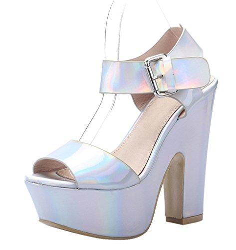 Open Ankle Fashion Sexy Sandal patent Women's Comfort Block pu Toe silver Strap Platform qfUBqx14wC