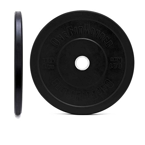 Black Bumper Plate Pair by OneFitWonder - Weightlifting & Strength Training Equipment (15)