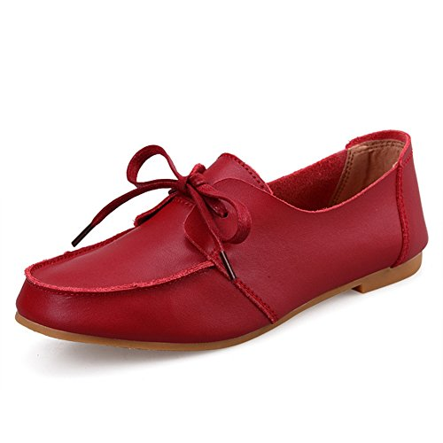 Womens Loafers Shoes - Lace-up Comfy Slip On Anti-Slip Round Toe Flat Casual Penny Red deQM5wXT