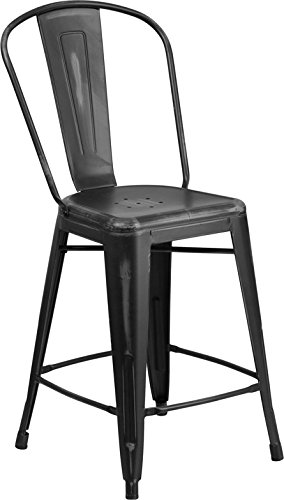 - Flash Furniture 24'' High Distressed Black Metal Indoor-Outdoor Counter Height Stool with Back