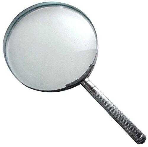 2x Glass Lens Magnifier with Steel Rim & Handle Construction