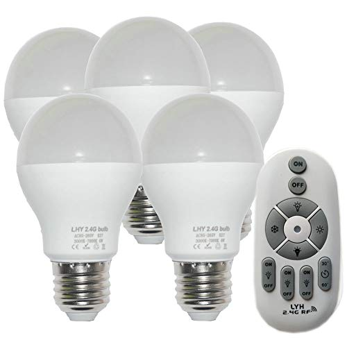 1 Five Bulb Pendant - Fjiangyi 6W E27 Smart LED Light Bulbs Dimmable with 2.4GHz Wireless 3-Zone Remote Control - Adjustable Color Temperature (Warm/Cool) and Brightness 5 Pack (5 Bulb+1 Remote)