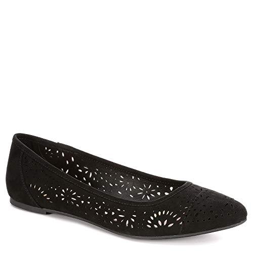 XAPPEAL Womens Adilene Perforated Slip On Flat Shoes, Black, US 6 (Cut Black Laser)