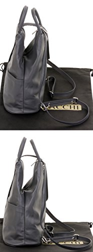 Shoulder Italian Leather Handle Rucksack Primo Top Dark Bag Grey Sacchi Backpack Napa Soft 0wqTZ5q