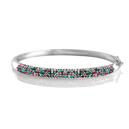 (Chamonix Jewelry Womens 5mm Rhodium Plated Multi Row Austrian Crystal Bangle Bracelet (PINKBLUE) )