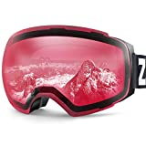 ZIONOR X4 Ski Snowboard Snow Goggles Magnet Dual Layers Lens Spherical Design Anti-Fog UV Protection Anti-Slip Strap for Men Women (VLT 49.02% Light Black Frame Clear Close Lens)