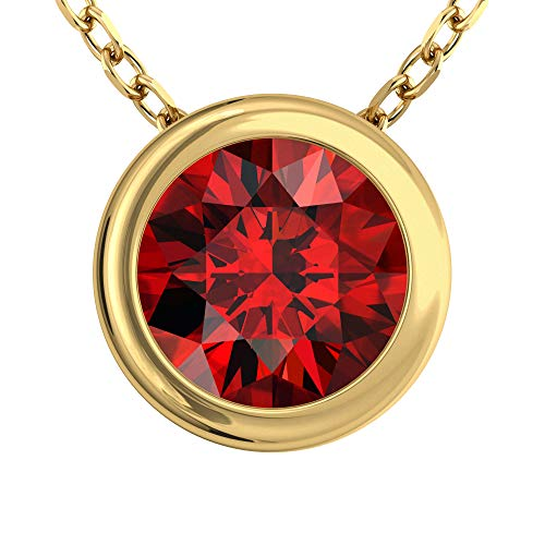 Belinda Jewelz Womens 14K Yellow Gold Round Sparkly 7 mm Gemstone Bezel Solitaire Classic Chain Gemstone Fine Jewelry Accessory Pendant Necklace, 1.48 Carats Garnet, 18 Inch