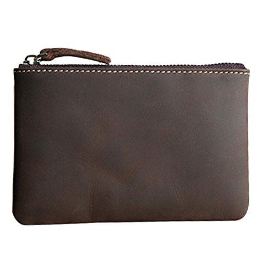 Coin Purse Pouch Fmeida Men's Leather Change Purse Zipper Slim Wallet (Dark Brown)