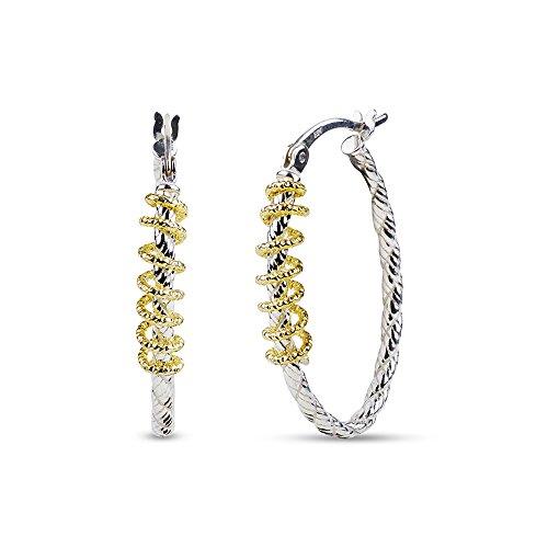 (LeCalla Women's Sterling Silver Jewelry Two Tone Diamond Cut Oval Shape High Polish Hoop Earrings)