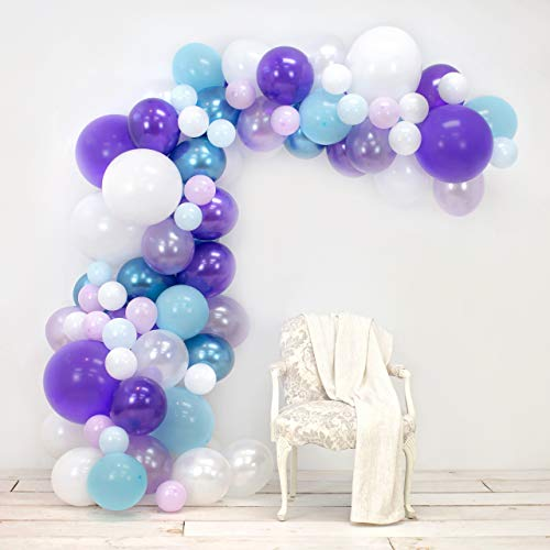 JUNIBEL Balloon Arch & Garland Kit | 90 Lavender, Pastel & Chrome Blue, Purple, White | Glue Dots & Decorating Strip | Holiday, Wedding, Baby Shower, Graduation, Anniversary & Party Decorations - Purple Kit