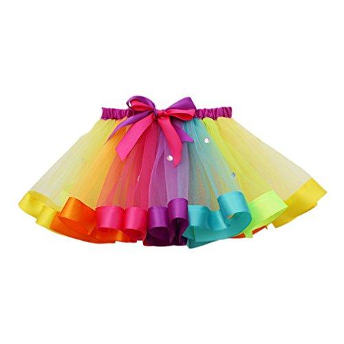 MOLFROA Baby Girls Colorful Layered Dance Outdoor Rainbow Tutu Skirt (Small/1-3 Years, Rhinestone Rainbow) by MOLFROA (Image #1)