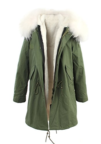 Melody Women's XXL Army Green Large Raccoon Fur Collar Hooded Coat Parkas Detachable Lining Winter Long Jacket (Small, Army Green-White)