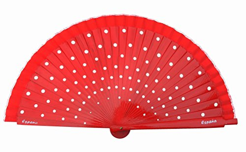 Spanish Dots - La Señorita Spanish Flamenco Fan wood Hand Fan Dress costume red with white dots