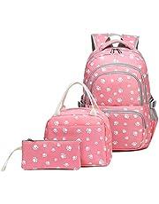 Kids Girls Backpack Elementary School Paw Prints Bookbag 3pcs Set with Lunch Bag