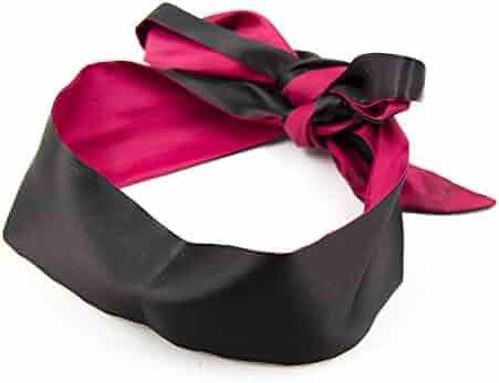 Satin Blindfold Soft Eye Mask Band Blinder Comfortable Sleep Masks (Black+Red)