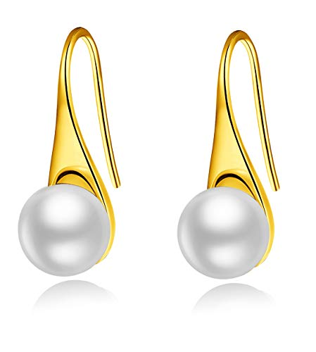 Pearl Earrings For Women, 925 Sterling Silver White Freshwater Cultured Pearl Drop Dangle Hook Earring Jewelry (Yellow Gold Plated Sterling Silver)