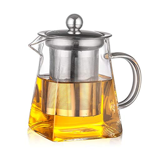 heaven2017 Glass Teapot with Stainless Steel Infuser Heat Resistant Tea Maker -