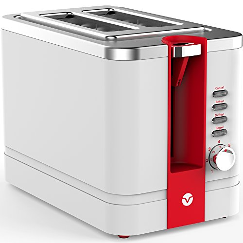 Vremi-Toaster-2-Slice-Stainless-Steel-Retro-Toaster-for-Bagels-with-Wide-Slots-and-Adjustable-Temperature-Control-Cool-White-and-Red-Toaster