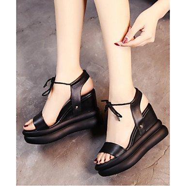 RUGAI-UE Moda de Verano Mujer sandalias casuales zapatos de tacones PU Confort,Brown,US9 / UE40 / UK7 / CN41 Black