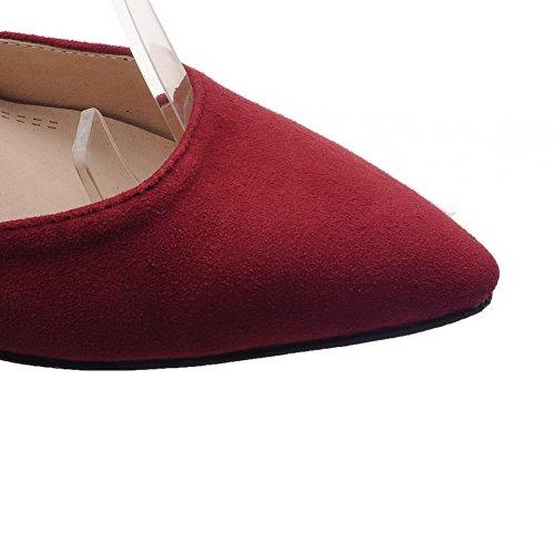 Amoonyfashion Womens Pointu Bout Fermé Lacets Talons Hauts Mélange Matériaux Solides Pompes-chaussures Rouge