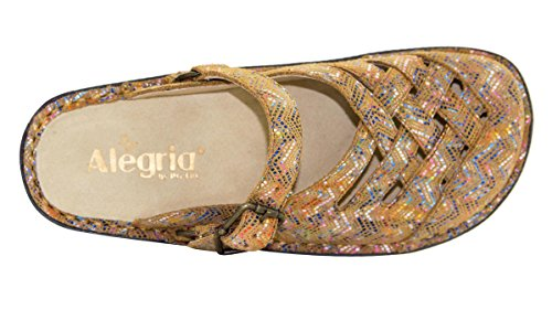 Alegria Alegira Dames Freesia Lederen Klomp Limited Edition Ric Rack Rainbow Tan
