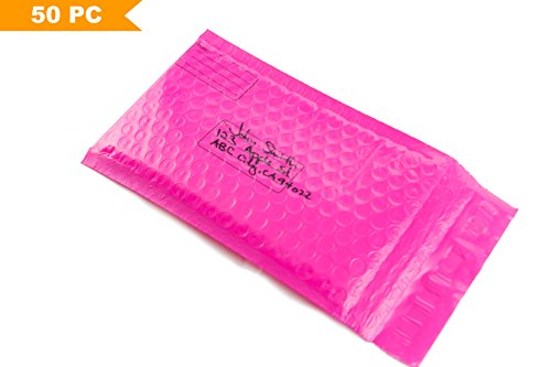 4x8 Self-Seal Poly Bubble Mailers with Address Lines, Padded Shipping Envelopes, Pink Packaging Bags 50 - Standard Is Usps Shipping