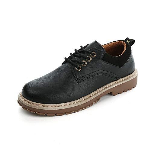 Zapatos Libre de Derby de Redonda Hombres con 39 Cordones de Aire EU con Suave Qiusa Suela para al Casuales con Color Puntas Moda tamaño ala Negro Puntera f781wdq