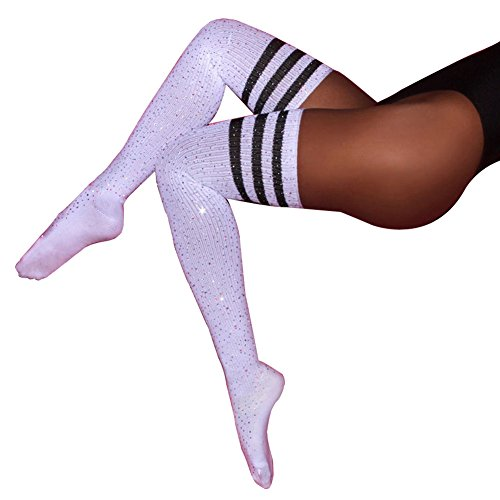 (Women Winter Sexy Rhinestone Thigh High Socks Cable Knit Colorful Striped Stockings Girls Over Knee Leg Warmers (White Black Stripe))