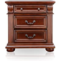 Furniture of America Archimedes English Style 3-Drawer Nightstand, Brown Cherry Finish
