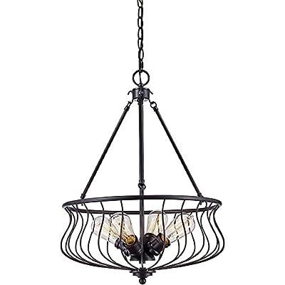 "Trans Globe Lighting 70785 ROB Congress Indoor Rubbed Oil Bronze Industrial Pendant, 18"""
