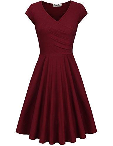 KASCLINO Elegant Dresses, Womens Casual Dress A Line Cap Sleeve V Neck Wine red-C XXL