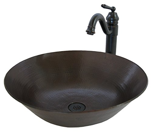 Novatto CATALONIA Copper Vessel Sink Set, Oil Rubbed Bronze Stone Lav Sink