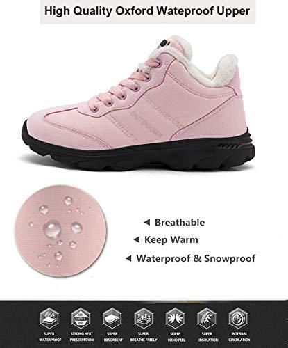 Pelliccia Neve Piatto Caviglia Stivali Boots Uomo Scarpe Rosa Stivaletti Da Per Allineato Stringate Donna Invernali Caloroso qXnxBxF