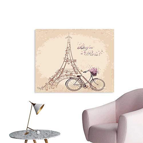 J Chief Sky Paris Wall Paper Bonjour Paris Eiffel Tower and Vintage Bicycle with Flowers Retro Soft Color Print Decor Sticker W32 xL24