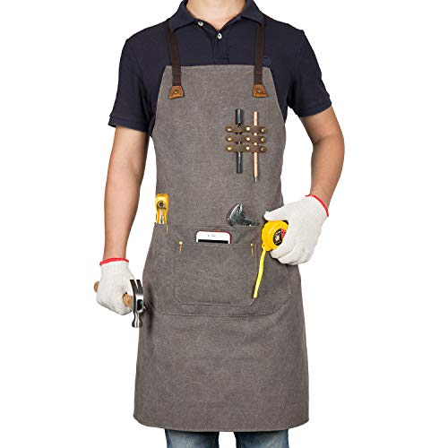 Work Apron for Mens Womens Canvas Leather,Cross Back Bib Adjustable, With Pocket Denim,Professiona Chef, Kitchen, BBQ,Baking,Hairdresser,Grill,Tool Aprons (For Men Craft Apron)