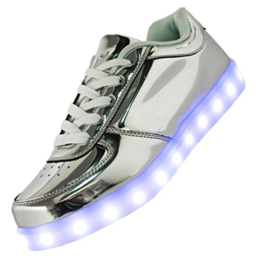 USB JUNGLEST Women LED Present Shoes towel Charging small Odema Silver qwwXHp