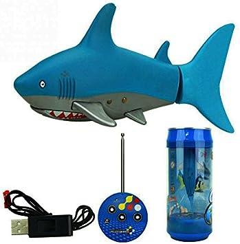 Escomdp Mini RC Fish Pez Tiburón Niños Juguete Eléctrico Control Remoto Tiburón Nadando Juegos de Agua Barco Los Mejores Regalos para Niños (Blue)