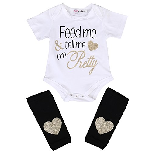 Newborn Baby Boy Girl Romper Bodysuit + Heart Print Leg Warmer Outfit (0-3 Months, White) (Pretty Girl Outfits)