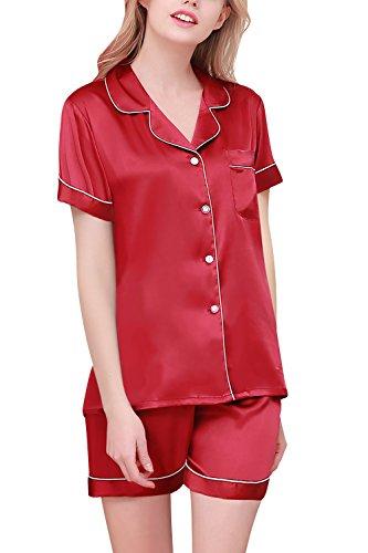 Dolamen Pijamas Camisón para mujer, Mujer Corto Camisones raso Satin Parejas Pijamas, lencería Collar de botón con botones Satén Neglige Lencería Ropa de Dormir Rojo