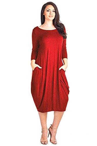12 Ami Plus Size Solid 3/4 Sleeve Bubble Hem Pocket Midi Dress Red XXL,XX-Large