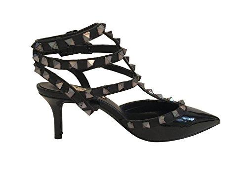 Kaitlyn Pan Pointed Toe Studded Slingback Kitten Heel Leather Pumps Black Patent/Black Trim/Gun Black Studs free shipping 2014 unisex rmTjhosG