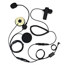 FANVERIM Open/Half Face Motorcycle Bike Helmet Earpiece Headset Mic Compatible For Motorola Radio 2.5mm T6200 T6210